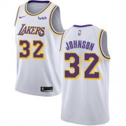 Wholesale Cheap Lakers #32 Magic Johnson White Basketball Swingman Association Edition Jersey
