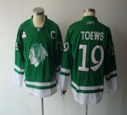 Wholesale Cheap Blackhawks #19 Jonathan Toews Green St. Patty's Day Embroidered Youth NHL Jersey