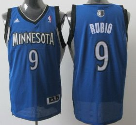 Wholesale Cheap Minnesota Timberwolves #9 Ricky Rubio Blue Swingman Jersey
