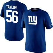 Wholesale Cheap Nike New York Giants #56 Lawrence Taylor Name & Number NFL T-Shirt Blue