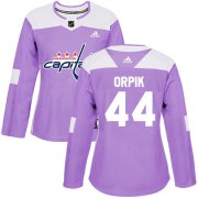 Wholesale Cheap Adidas Capitals #44 Brooks Orpik Purple Authentic Fights Cancer Women's Stitched NHL Jersey