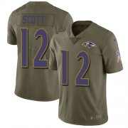 Wholesale Cheap Nike Ravens #12 Jaleel Scott Olive Men's Stitched NFL Limited 2017 Salute To Service Jersey