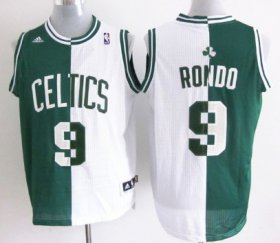 Wholesale Cheap Boston Celtics #9 Rajon Rondo Revolution 30 Swingman Green/White Two Tone Jersey