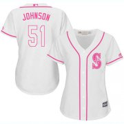 Wholesale Cheap Mariners #51 Randy Johnson White/Pink Fashion Women's Stitched MLB Jersey