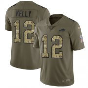 Wholesale Cheap Nike Bills #12 Jim Kelly Olive/Camo Men's Stitched NFL Limited 2017 Salute To Service Jersey