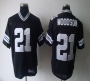 Wholesale Cheap Packers #21 Charles Woodson Black Shadow Stitched NFL Jersey