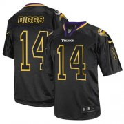 Wholesale Cheap Nike Vikings #14 Stefon Diggs Lights Out Black Men's Stitched NFL Elite Jersey