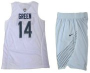 Wholesale Cheap 2016 Olympics Team USA Men's #14 Danny Green White Revolution 30 Swingman Basketball Jersey With Shorts