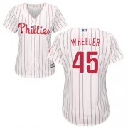 Wholesale Cheap Phillies #45 Zack Wheeler White(Red Strip) Home Women's Stitched MLB Jersey