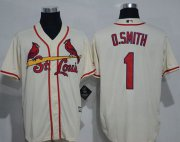 Wholesale Cheap Cardinals #1 Ozzie Smith Cream New Cool Base Stitched MLB Jersey