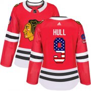 Wholesale Cheap Adidas Blackhawks #9 Bobby Hull Red Home Authentic USA Flag Women's Stitched NHL Jersey