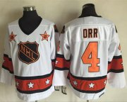 Wholesale Cheap Bruins #4 Bobby Orr White/Orange All Star CCM Throwback Stitched NHL Jersey