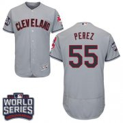 Wholesale Cheap Indians #55 Roberto Perez Grey Flexbase Authentic Collection 2016 World Series Bound Stitched MLB Jersey