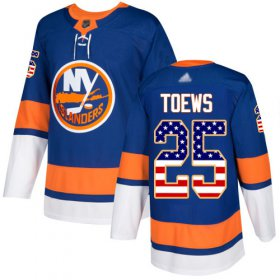 Wholesale Cheap Adidas Islanders #25 Devon Toews Royal Blue Home Authentic USA Flag Stitched NHL Jersey