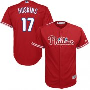 Wholesale Cheap Phillies #17 Rhys Hoskins Red Cool Base Stitched Youth MLB Jersey