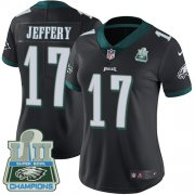 Wholesale Cheap Nike Eagles #17 Alshon Jeffery Black Alternate Super Bowl LII Champions Women's Stitched NFL Vapor Untouchable Limited Jersey