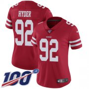Wholesale Cheap Nike 49ers #92 Kerry Hyder Red Team Color Women's Stitched NFL 100th Season Vapor Untouchable Limited Jersey