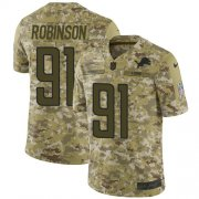 Wholesale Cheap Nike Lions #91 A'Shawn Robinson Camo Men's Stitched NFL Limited 2018 Salute To Service Jersey
