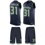 Wholesale Cheap Nike Seahawks #31 Kam Chancellor Steel Blue Team Color Men's Stitched NFL Limited Tank Top Suit Jersey