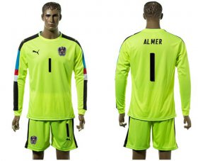 Wholesale Cheap Austria #1 Almer Shiny Green Goalkeeper Long Sleeves Soccer Country Jersey