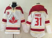Wholesale Cheap Team CA. #31 Carey Price White Sawyer Hooded Sweatshirt 2016 World Cup Stitched NHL Jersey