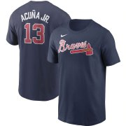 Wholesale Cheap Atlanta Braves #13 Ronald Acuna Jr. Nike Name & Number T-Shirt Navy
