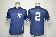 Wholesale Cheap Mitchell And Ness Yankees #2 Derek Jeter Navy Blue Practice Stitched MLB Jersey