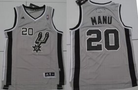 Wholesale Cheap San Antonio Spurs #20 Manu Nickname Gray Swingman Jersey