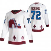 Wholesale Cheap Colorado Avalanche #72 Joonas Donskoi White Men's Adidas 2020-21 Reverse Retro Alternate NHL Jersey
