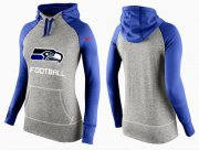 Wholesale Cheap Women's Nike Seattle Seahawks Performance Hoodie Grey & Blue