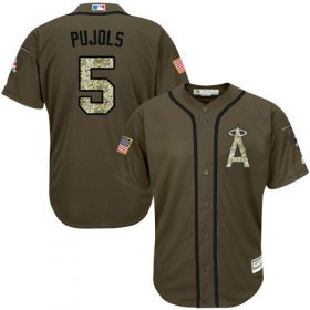Wholesale Cheap Angels of Anaheim #5 Albert Pujols Green Salute to Service Stitched MLB Jersey