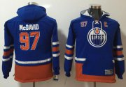 Wholesale Cheap Oilers #97 Connor McDavid Light Blue Youth Name & Number Pullover NHL Hoodie