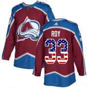 Wholesale Cheap Adidas Avalanche #33 Patrick Roy Burgundy Home Authentic USA Flag Stitched NHL Jersey