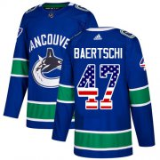 Wholesale Cheap Adidas Canucks #47 Sven Baertschi Blue Home Authentic USA Flag Youth Stitched NHL Jersey