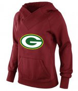 Wholesale Cheap Women's Green Bay Packers Logo Pullover Hoodie Red