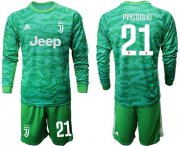 Wholesale Cheap Juventus #21 Pinsoglio Green Goalkeeper Long Sleeves Soccer Club Jersey