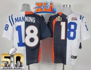 Wholesale Cheap Nike Colts #18 Peyton Manning Navy Blue/White Super Bowl XLI & Super Bowl 50 Men's Stitched NFL Elite Split Broncos Jersey