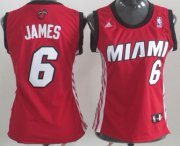 Wholesale Cheap Miami Heat #6 LeBron James Red Womens Jersey