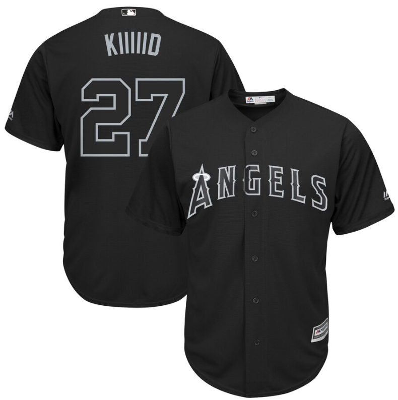 "Wholesale Cheap Angels of Anaheim #27 Mike Trout Black ""Kiiiiid"" Players Weekend Cool Base Stitched MLB Jersey"