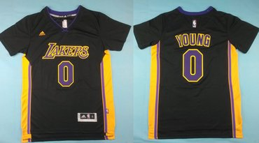 Wholesale Cheap Los Angeles Lakers #0 Nick Young Revolution 30 Swingman 2014 New Black With Purple Short-Sleeved Jersey