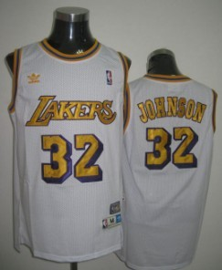 Wholesale Cheap Los Angeles Lakers #32 Magic Johnson White Swingman Throwback Jersey