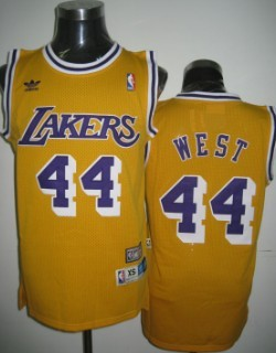 Wholesale Cheap Los Angeles Lakers #44 Jerry West Yellow Swingman Throwback Jersey