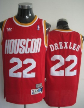 Wholesale Cheap Houston Rockets #22 Clyde Drexler Red Swingman Throwback Jersey