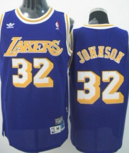 Wholesale Cheap Los Angeles Lakers #32 Magic Johnson Purple Swingman Throwback Jersey