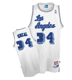 Wholesale Cheap Los Angeles Lakers #34 Shaquille O\'neal White Swingman Throwback Jersey