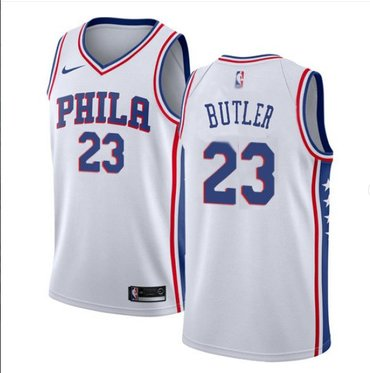 Wholesale Cheap Men's Philadelphia 76ers #23 Jimmy Butler Cream NEW White Jersey