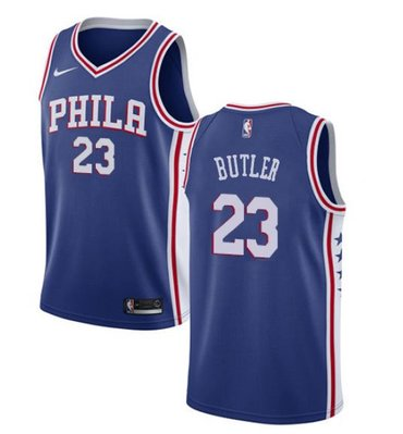 Wholesale Cheap Men's Philadelphia 76ers #23 Jimmy Butler Cream NEW Blue Jersey