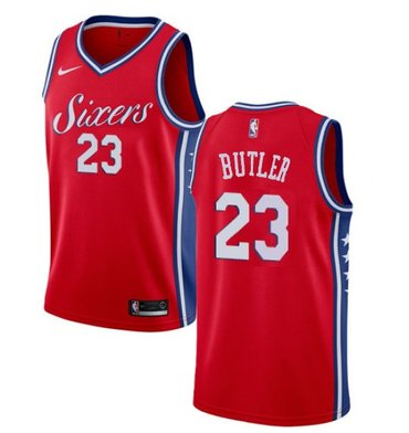 Wholesale Cheap Men's Philadelphia 76ers #23 Jimmy Butler Cream NEW Red Jersey