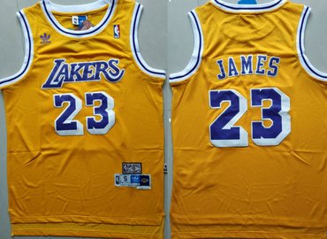 Wholesale Cheap Los Angeles Lakers #23 Lebron James Yellow Hardwood Classics Jersey