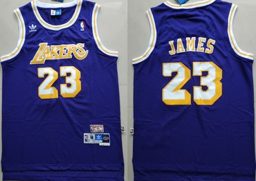 Wholesale Cheap Los Angeles Lakers #23 Lebron James Purple Hardwood Classics Jersey